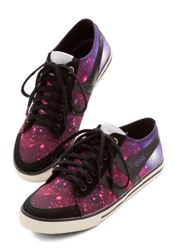 Get Into Orbit Sneaker by Gola - Purple, Black, Novelty Print, Lace Up, Flat, Woven, Cosmic, Better, Casual, Urban