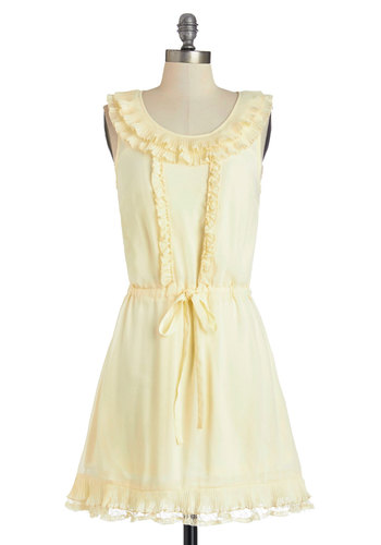 Ruffled to Resplendence Dress - Better, White, Sleeveless, Cream, Solid, Ruffles, Casual, A-line, Sleeveless, Scoop, Mid-length, Belted