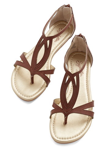 Concentrate Sandal in Brown by Seychelles - Flat, Leather, Brown, Solid, Casual, Beach/Resort, Boho, Summer, Best, Variation