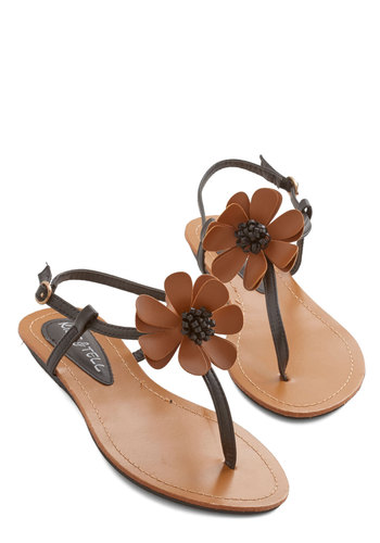 Power of Flowers Sandal - Low, Faux Leather, Brown, Flower, Beach/Resort, Boho, Vintage Inspired, 70s, Summer, Good, T-Strap, Black, Festival, Social Placements