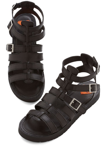 Picnic Hike Sandal - Low, Faux Leather, Black, Solid, Buckles, Summer, Better, Strappy, Vintage Inspired, 90s