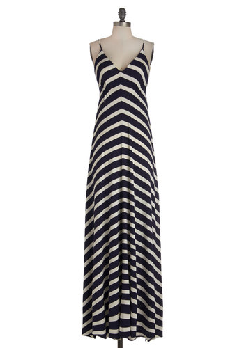 It's Getting Yacht in Here Dress - Nautical, Maxi, Blue, White, Stripes, Casual, Better, V Neck, Long, Jersey, Knit, Spaghetti Straps, Summer