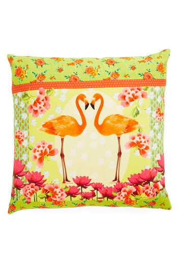 Wade for Each Other Pillow by Karma Living - Cotton, Woven, Multi, Neon, Better, Print with Animals, Summer, Critters, Bird, Woodland Creature