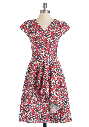 Warm-Weather Wreath Dress by Mata Traders - Multi, Floral, Ruffles, Party, A-line, Cap Sleeves, Better, V Neck, Cotton, Woven, Long, Red, Eco-Friendly