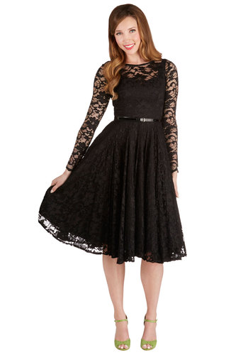 Only in Dreams Dress - Black, Solid, Lace, Special Occasion, Prom, Party, A-line, Long Sleeve, Woven, Best, Long, Lace, Belted