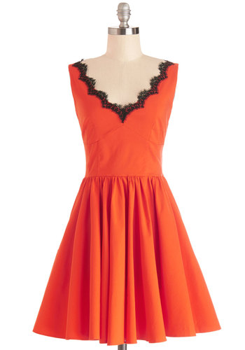 Orange You Vibrant Dress - Orange, Black, Lace, Party, A-line, Sleeveless, Better, V Neck, Mid-length, Knit, Lace, Fit & Flare, Homecoming, Halloween