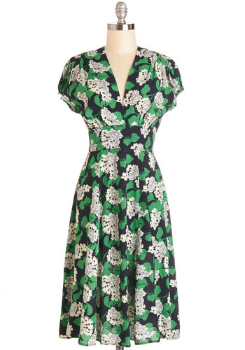 Everything is Bouquet Dress by Trashy Diva - Floral, Daytime Party, A-line, Cap Sleeves, Woven, Best, V Neck, Long, Multi, Green, Black, White, Social Placements