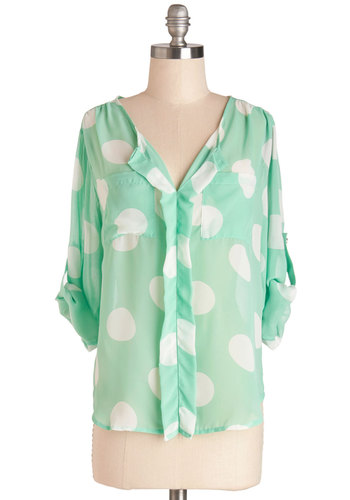 Wow Have You Been? Top - Mid-length, Chiffon, Sheer, Woven, Mint, White, Polka Dots, Buttons, Vintage Inspired, 80s, Pastel, Long Sleeve, Spring, Green, Tab Sleeve, Pockets, Casual