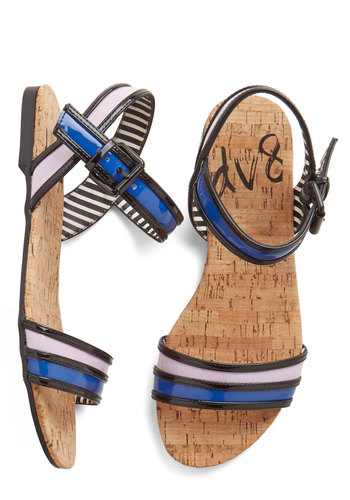 Groove City Sandal by Dolce Vita - Flat, Faux Leather, Blue, Pink, Casual, Beach/Resort, Colorblocking, Summer, Good, Multi, Black