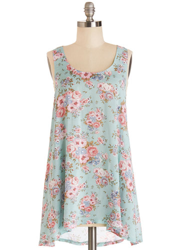 Flowers for You Tunic - Long, Woven, Mint, Floral, Casual, Sleeveless, Spring, Summer, Blue, Sleeveless, Eco-Friendly, Scoop