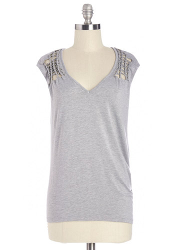 What's Knot to Love Top - Mid-length, Knit, Grey, Solid, Cutout, Casual, Cap Sleeves, Grey, Short Sleeve