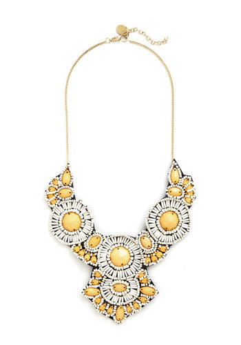 Medallion Marvel Necklace in Sunray - Yellow, White, Solid, Beads, Special Occasion, Statement, Gold, Better, Variation
