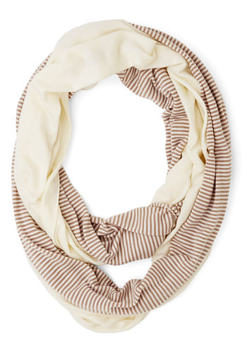Lunch Pairing Scarf in Taupe - Tan / Cream, Stripes, Casual, Good, Cotton, Knit, Cream, Fall
