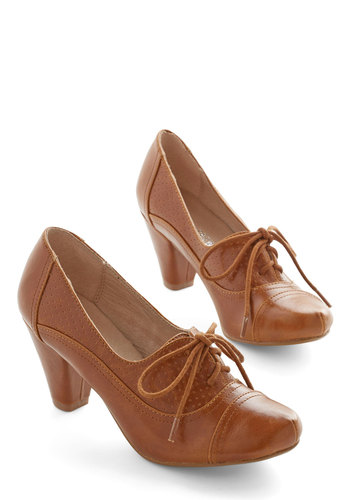Right Here Heel in Brown by Chelsea Crew - 30s, Brown, Solid, Work, Lace Up, Mid, Variation, 60s, Top Rated