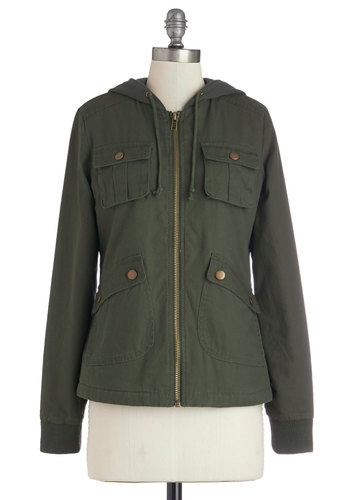 Take to the Lake Jacket in Green by Jack by BB Dakota - Green, Solid, Pockets, Long Sleeve, Mid-length, Cotton, Denim, Woven, 90s, Military, Menswear Inspired, Green, Best Seller, 2, Fall