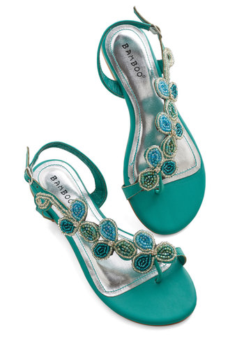 Bead of a Different Drummer Sandal in Sea Green - Low, Faux Leather, Mint, Solid, Beads, Party, Daytime Party, Good, Strappy, Variation, Statement, Press Placement