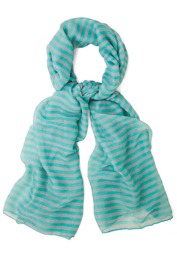 Hum and Get It Scarf - Stripes, Casual, Green, Sheer, Woven, Blue, Mint