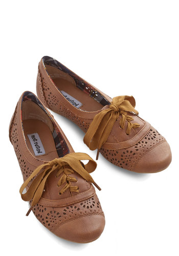 Jazz on the Patio Flat in Brown - Flat, Faux Leather, Brown, Solid, Casual, Menswear Inspired, Vintage Inspired, 20s, 30s, Lace Up, Variation, Top Rated