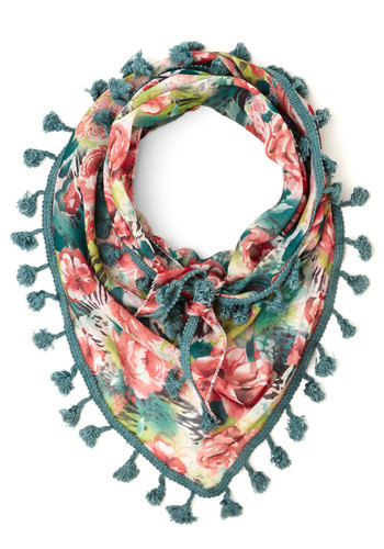 Backyard Potluck Scarf in Teal - Green, Multi, Floral, Tassels, Trim, Casual, Green, Woven, Under $20