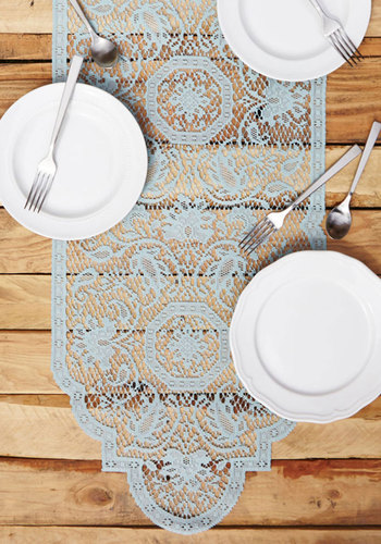 A Lace for Everyone Table Runner - Woven, French / Victorian, Good, Blue, Lace, Pastel, Hostess, Top Rated, Wedding