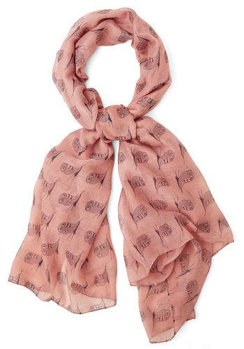 BRV CLOSED (2/10/15): Hoot on a Feeling Scarf - Pink, Black, Print with Animals, Casual, Owls, Pink, Critters