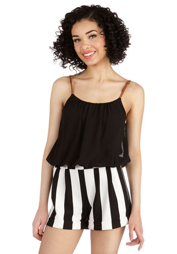 Belle of the Ballgame Romper - Black, Stripes, Beach/Resort, Nautical, Twofer, Summer, Good, Black, Sleeveless, Non-Denim, Romper, White, Casual, Spaghetti Straps, Long