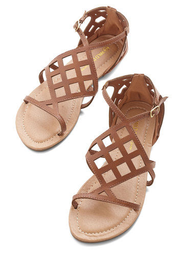 Joyful Sojourn Sandal - Flat, Faux Leather, Solid, Cutout, Casual, Beach/Resort, Spring, Summer, Good, Strappy, Brown, Social Placements