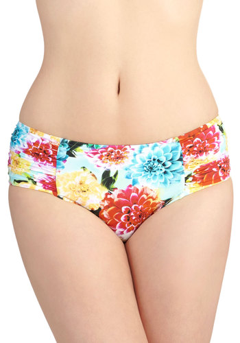 Let's Glow to the Beach Swimsuit Bottom by Seafolly - Knit, Multi, Floral, Ruching, Beach/Resort, Summer