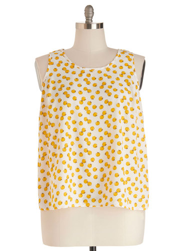 Installation Art Exhibit Top in Apples - Plus Size - Orange, Yellow, Novelty Print, Tank top (2 thick straps), Scoop, Chiffon, Woven, Multi, White, Casual, Fruits, Summer, Variation, Good