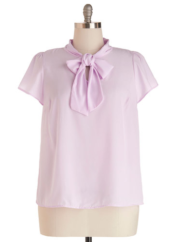 Tie for First Top in Lilac - Plus Size - Purple, Solid, Work, Short Sleeves, Spring, Chiffon, Woven, Tie Neck, Daytime Party, Pastel, Variation
