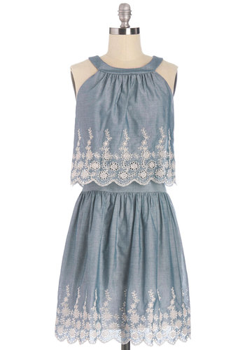 Clever Creations Dress - Blue, White, Eyelet, Scallops, Daytime Party, Sleeveless, Better, Scoop, A-line, Festival, Mid-length, Cotton, Woven, Show On Featured Sale, Boho