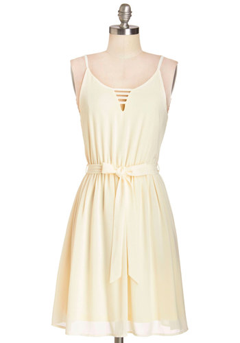Vanilla Milkshake Dress - Cream, Solid, Cutout, Belted, Casual, A-line, Summer, Woven, Good, Mid-length, Spaghetti Straps