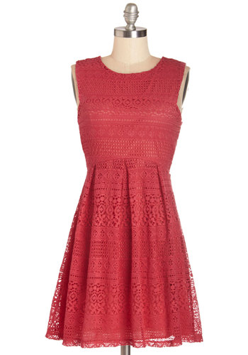 Extraordinary Raspberry Dress - Pink, Solid, Crochet, Casual, Sundress, Festival, A-line, Summer, Woven, Good, Scoop, Mid-length, Lace, Pleats, Boho