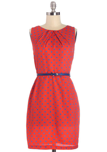 Merrily Primary Dress - Red, Blue, Polka Dots, Belted, Casual, Shift, Sleeveless, Woven, Good, Scoop, Mid-length, Pockets