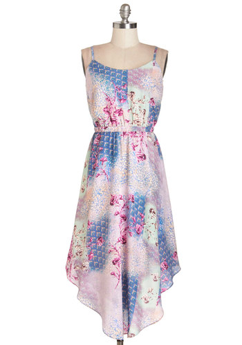 California Dreamy Dress - Multi, Floral, Casual, A-line, Summer, Woven, Good, Long, Spaghetti Straps