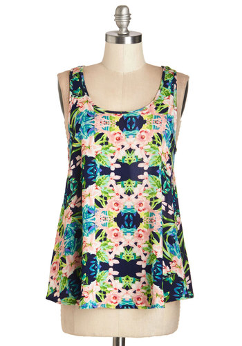 Take Your Tropic Top - Multi, Sleeveless, Mid-length, Woven, Multi, Green, Blue, Pink, Floral, Daytime Party, Sleeveless, Spring, Summer, Casual, Scoop, Good