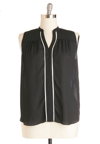 Sheer Moxie Top - Black, White, Work, Sleeveless, Woven, Sheer, Trim