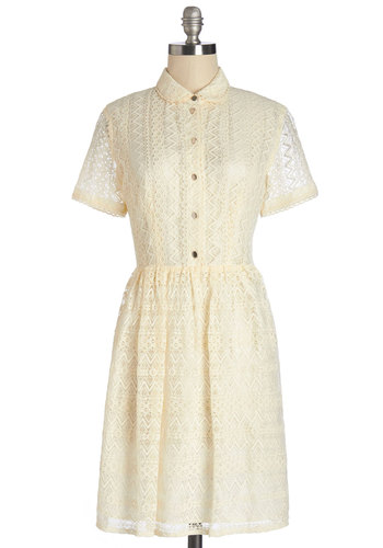 Tickle the Ivory Dress - Cream, Solid, Buttons, Lace, Casual, Vintage Inspired, 60s, A-line, Short Sleeves, Summer, Woven, Good, Collared, Mid-length, Lace