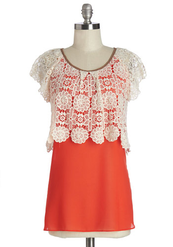 Booth of Bouquets Top by Ryu - Long, Cotton, Woven, Mixed Media, Red, Tan / Cream, Solid, Crochet, Daytime Party, Spring, Red, Short Sleeve, Bows, Cap Sleeves, Scoop
