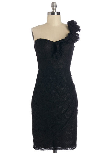 Très Fab Dress in Noir - Variation, Black, Solid, Lace, Ruffles, Special Occasion, Prom, Shift, One Shoulder, Woven, Good, Mid-length, Lace, Ruching, Cocktail