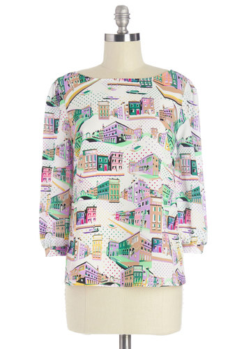 From Start to Venice Top - Multi, 3/4 Sleeve, Mid-length, Woven, Multi, Green, Purple, White, Novelty Print, 3/4 Sleeve