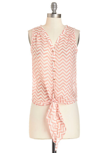 Delight as a Feather Top - Long, Chiffon, Sheer, Woven, White, Chevron, Buttons, Sleeveless, Spring, Summer, Orange, Sleeveless, Orange, Casual, Multi, Good
