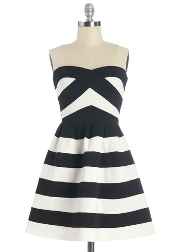 Boulevard Star Dress - Black, White, Stripes, Daytime Party, A-line, Strapless, Summer, Knit, Good, Sweetheart, Short