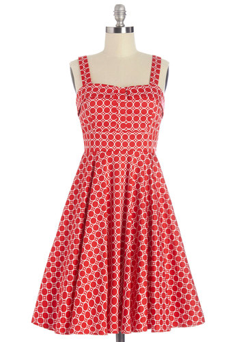 Pull Up a Cherry Dress in Dots - Variation, Red, White, Print, Daytime Party, Americana, Fit & Flare, Sleeveless, Woven, Better, Sweetheart, Cotton, Vintage Inspired, 50s, Social Placements, Sundress, Mid-length
