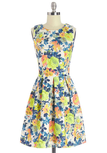Delightful Return Dress by Closet London - Mid-length, Multi, Floral, Pleats, Daytime Party, Neon, A-line, Sleeveless, Summer, Better, Scoop, Knit, Exposed zipper, Social Placements, Sundress