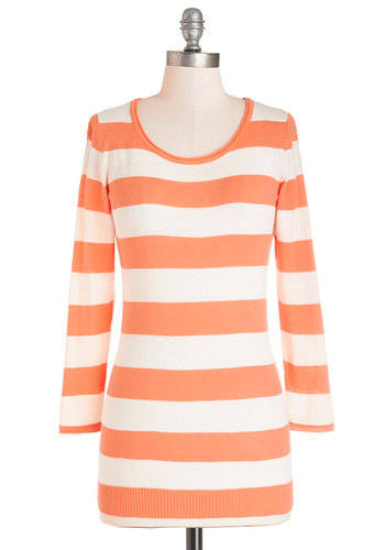 Serene Sunrise Sweater - Mid-length, Cotton, Knit, White, Stripes, Casual, 3/4 Sleeve, Orange, 3/4 Sleeve, Orange, Basic, Scoop