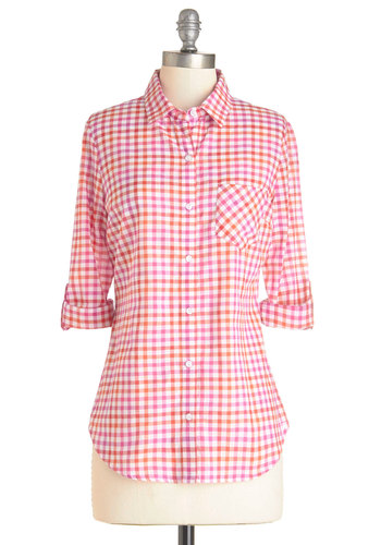 Citrus Garden Top - Mid-length, Cotton, Woven, Pink, Orange, Checkered / Gingham, Buttons, Pockets, Casual, Rockabilly, Vintage Inspired, 50s, Americana, Long Sleeve, Spring, Pink, Tab Sleeve, White, Collared