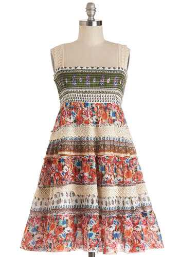 Cabin Comfort Dress - Multi, Floral, Crochet, Casual, Boho, A-line, Good, Festival, Summer, Woven, Sleeveless, Mid-length, Cotton, Print, Vintage Inspired, 70s