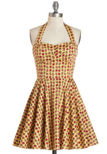 Traveling Cupcake Truck Dress in Apples - Multi, Novelty Print, Daytime Party, Fruits, Fit & Flare, Woven, Good, Halter, Halter, Variation, Sundress, Top Rated, Full-Size Run, Short