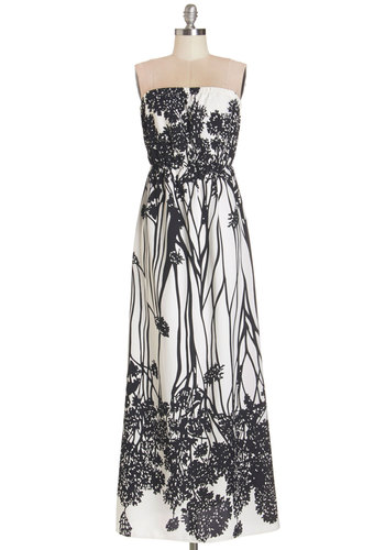 Get-Together in the Grass Dress - Black, Floral, Casual, Sundress, Maxi, Strapless, Summer, Woven, Long, White, Top Rated